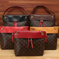 """Louis Vutitton"" Fashion Retro Classic Print Multicolor Single Shoulder Messenger Bag Women Temperament Handbag"
