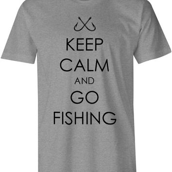 Keep Calm And Go Fishing T-Shirt, Fisherman, Fishing, Hunting, Hunt, For Outdoor Nature lovers, Hook Design - Gray & Black