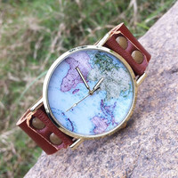 Handmade World Map Retro Leather Watch