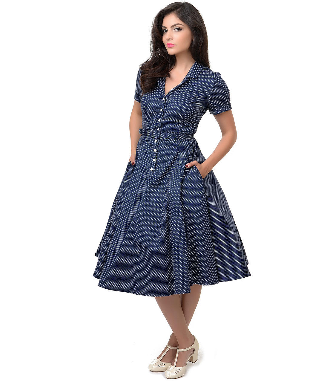 8d4cea445ed42 Collectif 1950s Style Navy & White Dot Belted Caterina Shirt Swing Dress