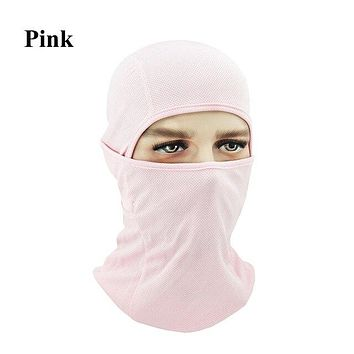 PINK Winter Outdoor Ski Bibs Snowboard Skiing Full Face Mask Cycling Sport Headgear Tactical Paintball Cap Hat Snowbile Balaclava