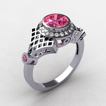 Modern Antique 14K White Gold Pave Diamond .80CT Round Rose Topaz Bridal Ring R55-14KWGDRT