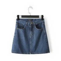 Summer Korean Women's Fashion With Pocket Denim Skirt [4920250500]