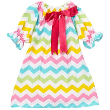 Rainbow Chevron Cap Sleeve Shift Dress