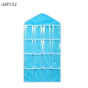 ASFULL Clear 16 Pockets Shoe Socks Underwear Toy Slippers Jewelry Sorting Storage Bag Door Wall Hanging Closet Organizer