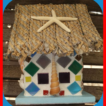 BIRDHOUSE Mosaic Sea Shell Bird Beach House, Shells, Starfish, Thatched Roof Home Decor, Seaside