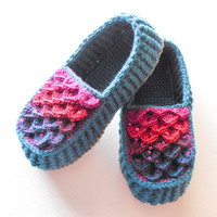 Crocodile Stitch Loafers - Adult Sizes - Turquoise Crochet House Slippers with Hemp Soles - Made to Order