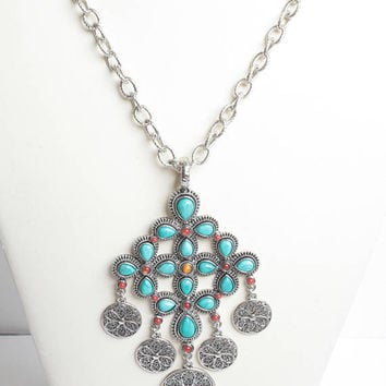 Graziano Turquoise Bead Necklace Cross Shaped Filigree Dangles Statement Piece