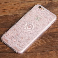 White Lace Mandala Floral iPhone 6S 6 Clear Case iPhone 6 Plus Transparent  iPhone 6S Plus Soft TPU Case  N0037
