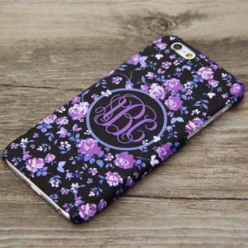 Purple Floral Monogram Wedding iPhone 6 Case,iPhone 6 Plus Case,iPhone 5s Case,iPhone 5C Case,4s,Samsung Galaxy S5/S4/S3/Note 3/Note 2 Case