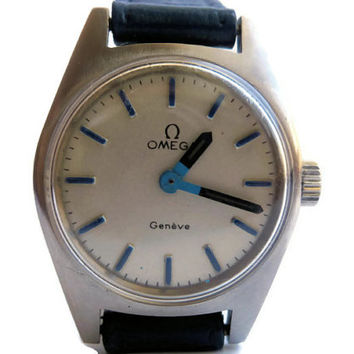 Vintage Ladies Swiss  Mechanical Omega Geneve Wrist Watch Stainless Steel From 1970