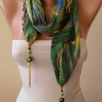Green Chiffon Fabric with Golden Sequins - Beads and Chain - Jewelry Scarf