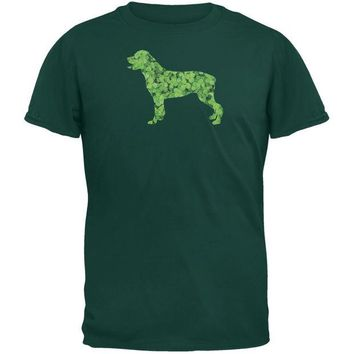DCCKJY1 St. Patricks Day - Rottweiler Shamrock Forest Green Adult T-Shirt