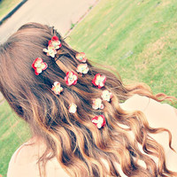 arie. vintage style hair pins. summer. ombre