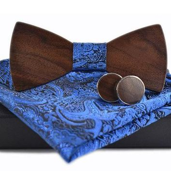 Blue Paisley Handkerchief, Bow Tie, Cuff Links Set