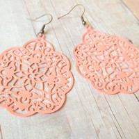 A P R I C O T - Light Coral Apricot Peach Pink Swirl Lace Hand Painted Metal Filigree Antique Bronze Dangle Earrings
