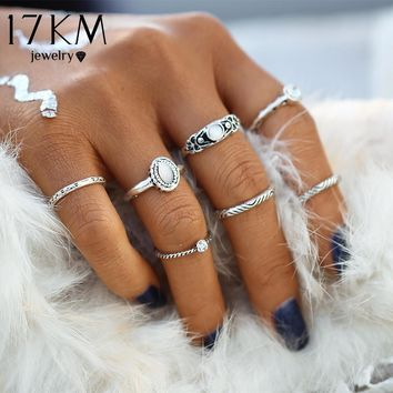 17KM Fashion Vintage Opal Midi Rings Set Antique Silver Color 7pcs / sets Boho National Style Charms Jewelry Ring For Women