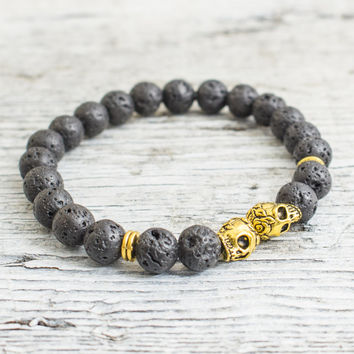 Black lava stone beaded gold Skulls stretchy bracelet, made to order yoga bracelet, mens bracelet, womens bracelet