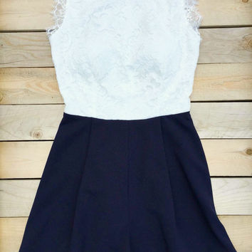 Lace and Navy Summer Party Romper