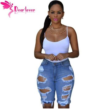 Dear Lover One Piece Sexy Hot Summer 2016 Women Skinny Jeans Pants Trousers Black/Blue Denim Destroyed Bermuda Shorts LC78649