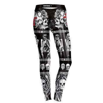 Skull Skeleton Cross Flower Prints Stretch Slim Fitness Workout Women Leggings