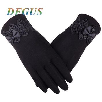 Fashion Women  Winter Gloves Lace Bow  Warm Gloves Women Touch Screen Mittens Female Button for Phone Guantes Ladies Gloves