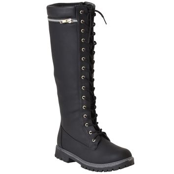 Womens Knee High Boots Lace Up Combat Zipper Closure Shoes Black
