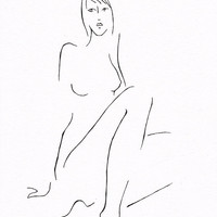 Simple black and white line art nude sketch. Original pen and ink illustration. A4 drawing for bedroom decor.