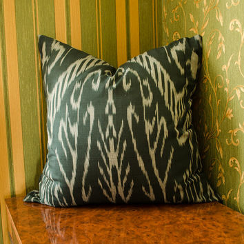20 x 20 ikat pillow cover, off black and gray cushion cover, ikat pillows, 20x20 pillows, chevron, interior pillows, cushion, uzbek