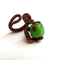 Green square stone ring adjustable ring copper color wirewrapped ring READY TO SHIP