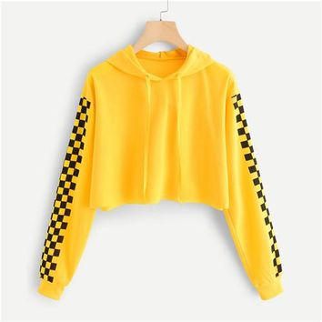 Yellow Checked Sleeve Pullover Crop Sweatshirt