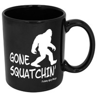 Funny Guy Mugs Gone Squatchin' Ceramic Coffee Mug, Black, 11-Ounce