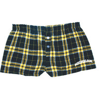 Ladies Pants & Shorts Boxercraft University of Michigan Juniors Plaid Bitty Boxer Shorts