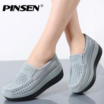 PINSEN 2017 Spring Women Flat Platform Loafers Shoes Ladies Suede Leather Hollow Casual Shoes Slip on Flats Moccasins creepers