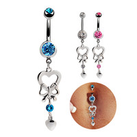 New Charming Dangle Crystal Navel Belly Ring Bling Barbell Button Ring Piercing Body Jewelry = 4672691588