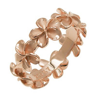 Plumeria Eternity Ring with14K Rose Gold Finish - 8mm,size 6
