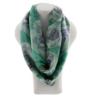 Blue Flower Print Scarf