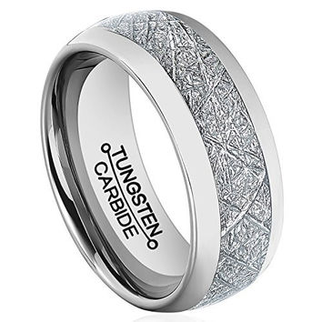 8mm Meteorite Ring Tungsten Wedding Polished Jade Textured Paper Inlay engagement Band (Platinum)