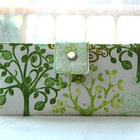 Green Trees handmade wallet vegan bifold clutch