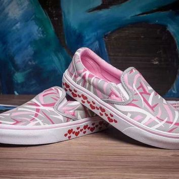 vans slip on canvas shoes hearts pattern flats sneakers sport shoes