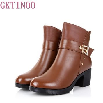 Autumn Winter Genuine Leather Shoes Ankle Boots High Quality High Heel Fashion Women's Boots New Short Boots