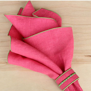 Coral Pink Napkin Rings, Linen Napkin Rings, Napkin Set, Table Decorations, Coral Wedding, Elegant Napin Rings, Embroidered Napkins,Set of 4