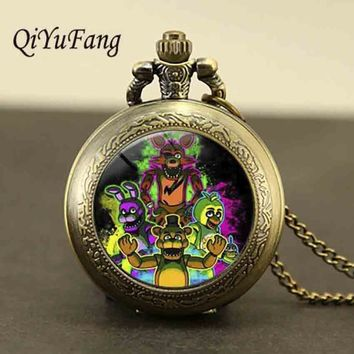 QiYuFang 5  at  Necklace FREDDY FAZBEAR Scrabble Tile pocket watch glass cabochon children christmas gift toy