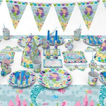 Birthday Party Mermaids Party Tableware Confetti Balloon Decorations / 33 options