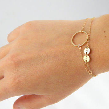 Gold Initial disc bracelet with full circle karma charm, full moon charm, circle double layer bracelet, everyday elegant gift bracelet 385