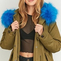 Light Before Dark Blue Faux-Fur Khaki Military Parka - Urban Outfitters