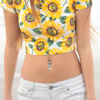 Short Sleeve Sunflower Crop Top