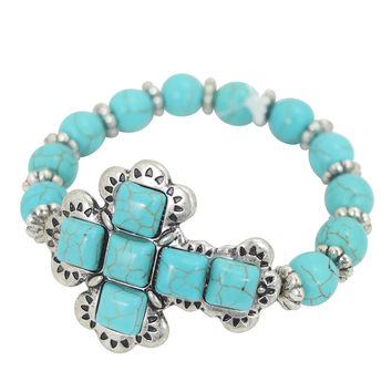 Western Aztec Turquoise Stone Cross Beaded Stretch Bracelet