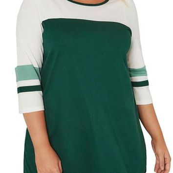 Green White Color Block Quarter Sleeved Plus Size Top