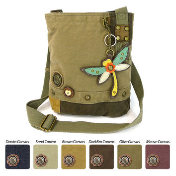 Chala Handbags Canvas Cotton Crossbody Bag+ Coin Purse (DragonFly)